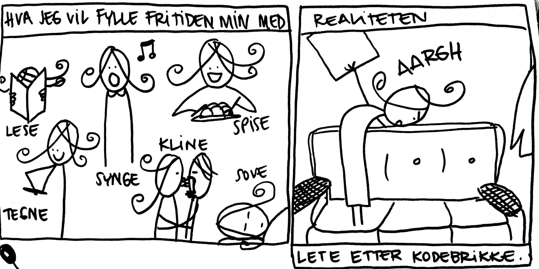Hva jeg vil fylle fritiden min med. Synge lese kline sove spise tegne. Realiteten: Lete etter kodebrikken.